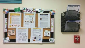 Decorated health and wellness bulletin board